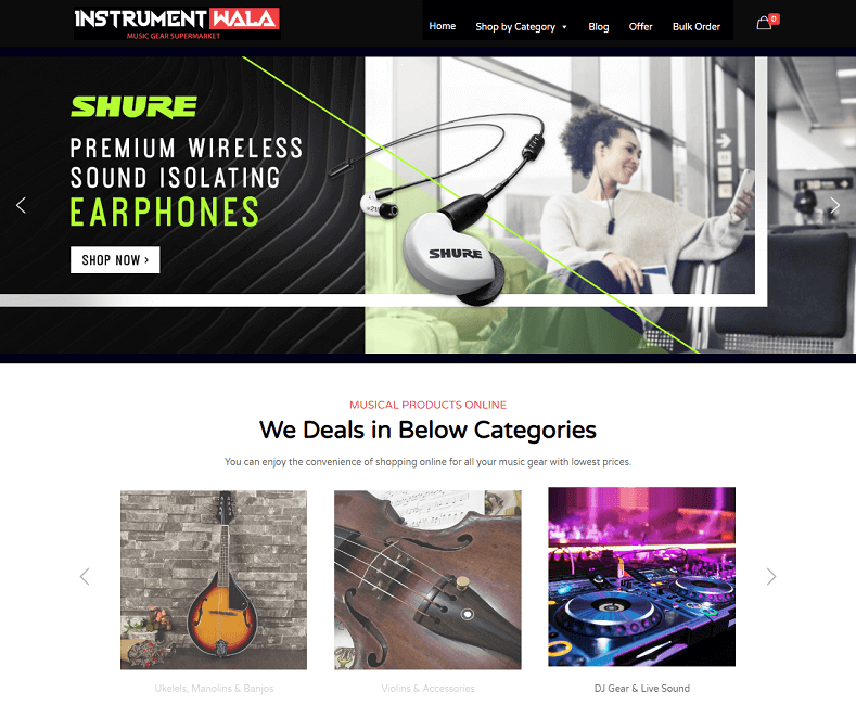 musical products website developer